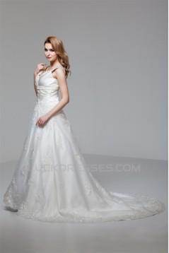 A-Line Sleeveless V-Neck Satin Organza New Arrival Wedding Dresses 2030556