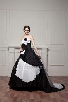 A-Line Strapless Brush Sweep Train Handmade Flowers Wedding Dresses 2030558