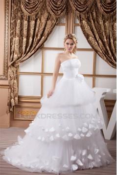 A-Line Strapless Satin Fine Netting Sleeveless Most Beautiful Wedding Dresses 2030559