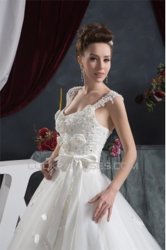 A-Line Straps Sleeveless Satin Lace Fine Netting Wedding Dresses 2030560