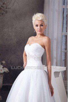 A-Line Sweetheart Satin Organza Sleeveless Beaded Floor Length Wedding Dresses 2030561