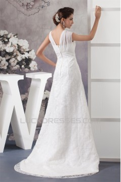 A-Line V-Neck Chiffon Silk like Satin Sleeveless New Arrival Wedding Dresses 2030567