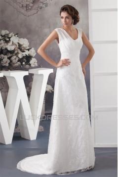A-Line V-Neck Chiffon Silk like Satin Sleeveless New Arrival Wedding Dresses 2030567