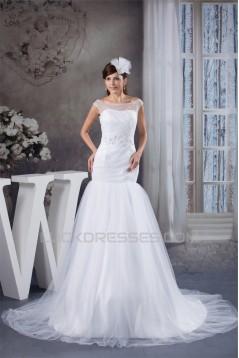 Amazing A-Line Satin Fine Netting Portrait Sleeveless Wedding Dresses 2030568