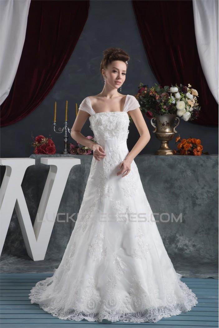 Amazing A-Line Satin Lace Straps Wedding Dresses 2030569