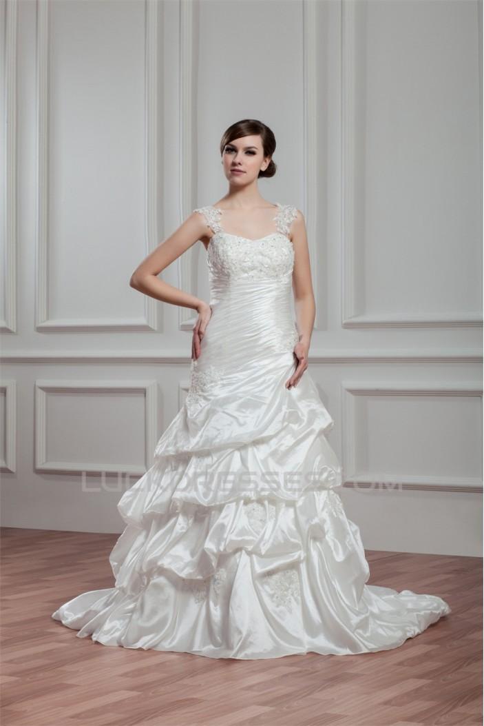 Amazing A-Line Sleeveless Illusion Sleeves Taffeta Lace Wedding Dresses 2030571