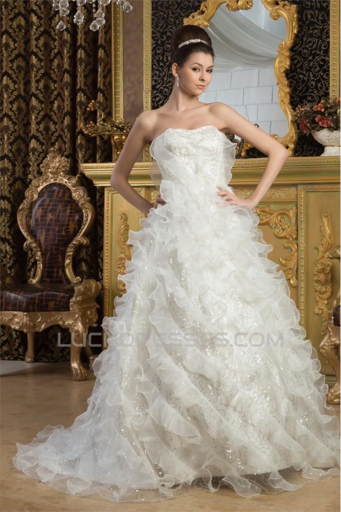 Amazing A-Line Sleeveless Satin Soft Sweetheart Wedding Dresses 2030572