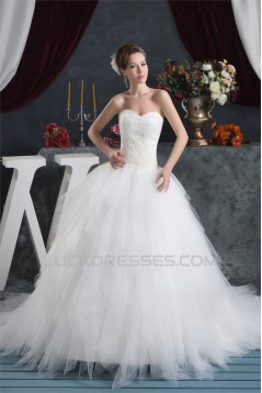 Amazing Satin Fine Netting Sleeveless Sweetheart Wedding Dresses 2030574