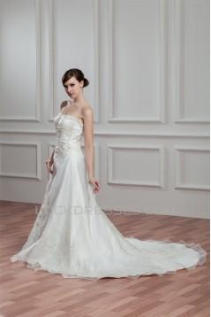 Amazing Satin Organza Sleeveless Strapless A-Line Wedding Dresses 2030575