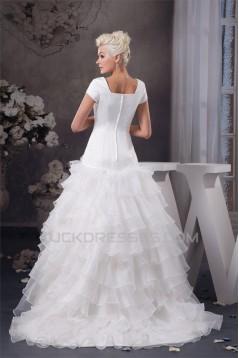 Amazing Satin Princess Sleeveless Portrait Wedding Dresses 2030576
