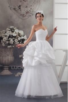 Amazing Satin Taffeta Fine Netting A-Line Lace Wedding Dresses 2030577