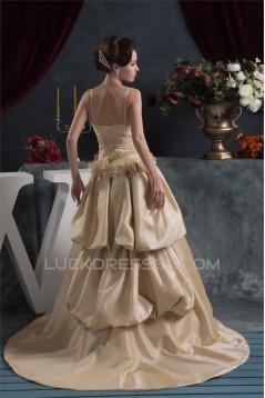 Amazing Satin Taffeta Sleeveless Spaghetti Straps Lace Wedding Dresses 2030578