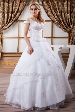 Amazing Ball Gown Off-the-Shoulder Satin Organza Wedding Dresses 2030583
