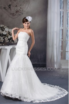 Amazing Sleeveless Satin Lace Strapless A-Line Wedding Dresses 2030584