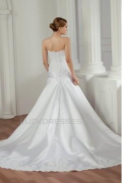 Amazing Sleeveless Satin Lace Sweetheart A-Line Lace Wedding Dresses 2030585