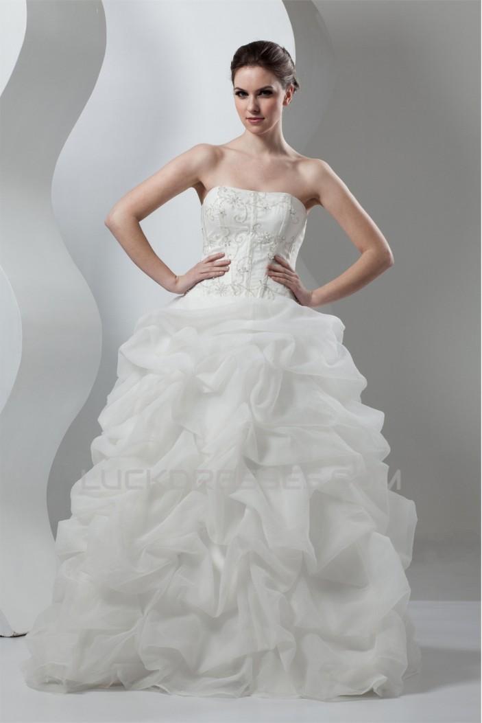 Amazing Soft Sweetheart Satin Organza Sleeveless Wedding Dresses 2030587