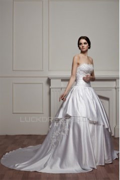 Amazing Soft Sweetheart Satin A-Line Beaded Lace Wedding Dresses 2030588