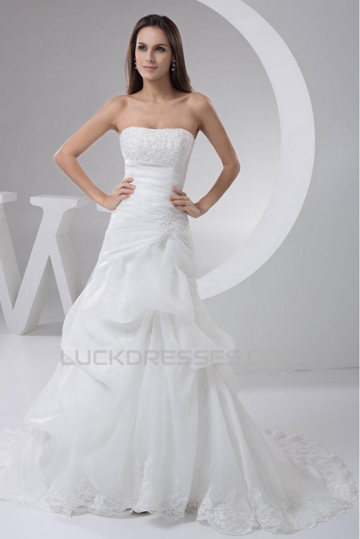 Amazing Strapless A-Line Sleeveless Satin Lace Wedding Dresses 2030589