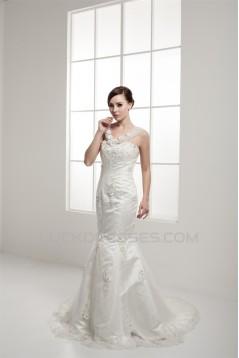 Amazing Trumpet/Mermaid Straps Satin Fine Netting Lace Wedding Dresses 2030590