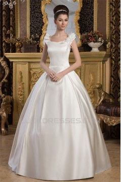 Amazing Straps Satin Netting Sleeveless A-Line Wedding Dresses 2030591