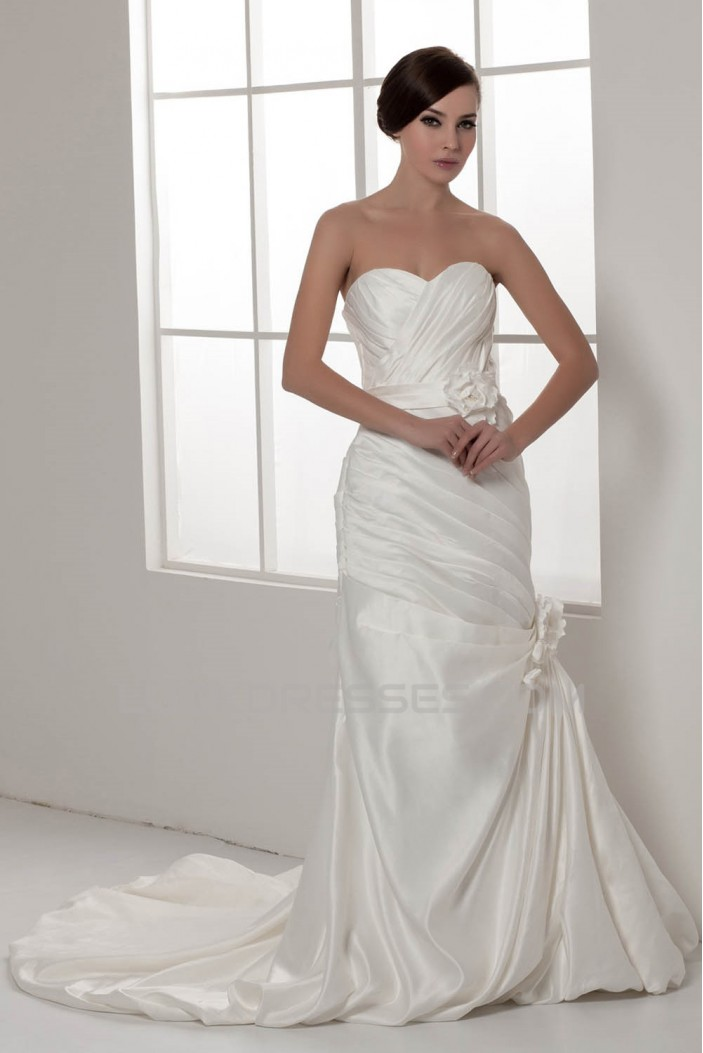 Amazing Sweetheart Satin Taffeta Sleeveless Princess Wedding Dresses 2030594