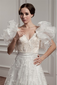 attractive A-Line Satin Lace Sleeveless Straps Reception Wedding Dresses 2030595