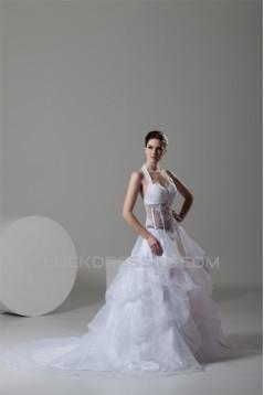 attractive Sleeveless A-Line Halter Satin Organza Wedding Dresses 2030598