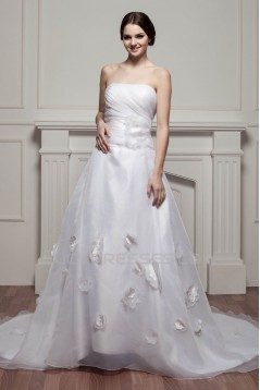 attractive Strapless Sleeveless Satin A-Line Wedding Dresses 2030599