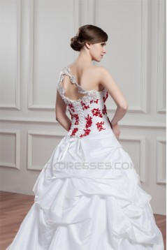 Ball Gown Organza Taffeta Sleeveless One-Shoulder Wedding Dresses 2030601