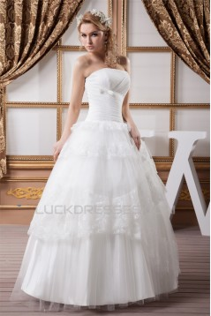 Ball Gown Satin Lace Fine Netting Strapless New Arrival Wedding Dresses 2030602