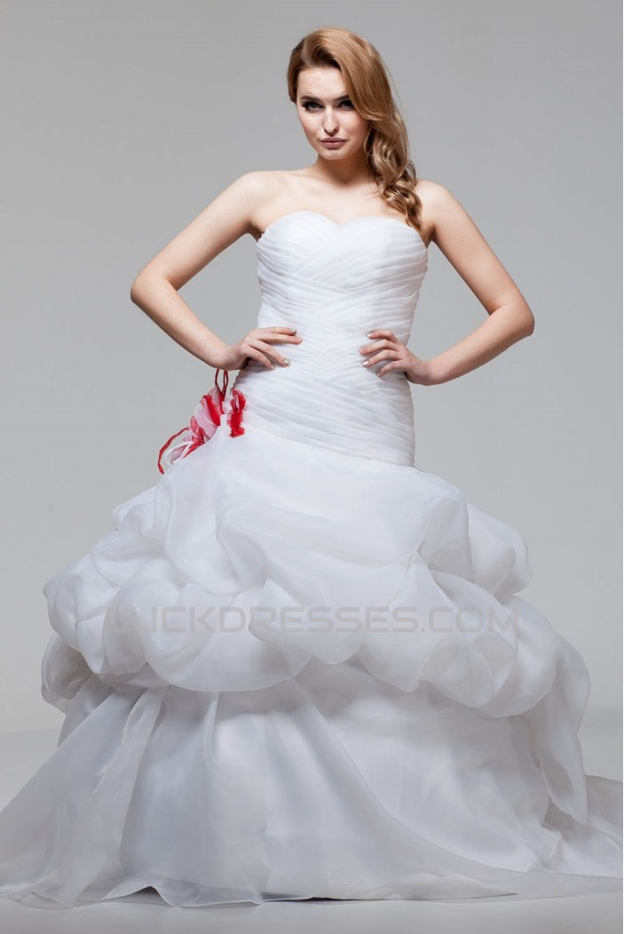 Ball Gown Satin Organza Sweetheart Sleeveless New Arrival Wedding Dresses 2030604
