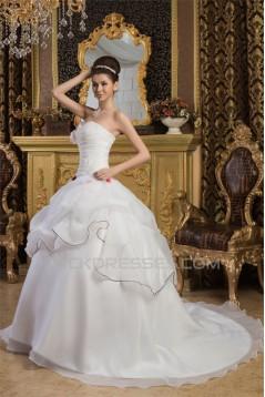 Ball Gown Satin Sleeveless Sweetheart New Arrival Wedding Dresses 2030605