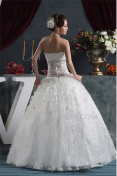 Ball Gown Sleeveless Satin Organza Fine Netting Lace Wedding Dresses 2030607