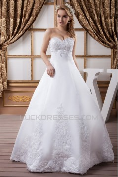 Ball Gown Sleeveless Sweetheart Satin Lace Wedding Dresses 2030609