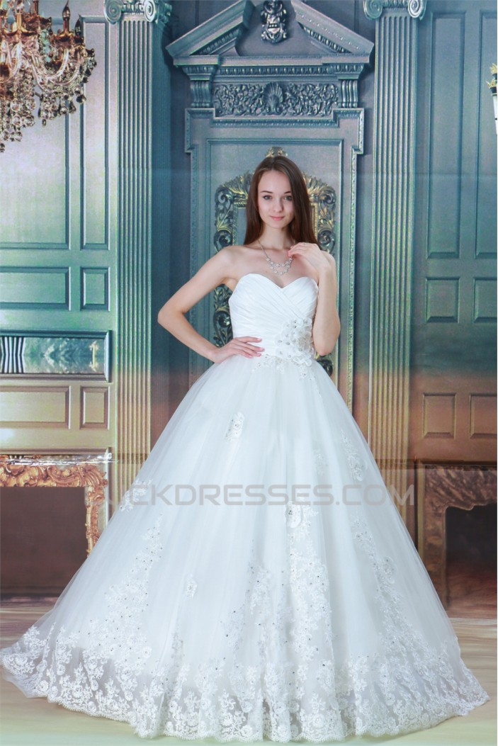 Ball Gown Sleeveless Sweetheart Satin Taffeta Fine Netting Wedding Dresses 2030610