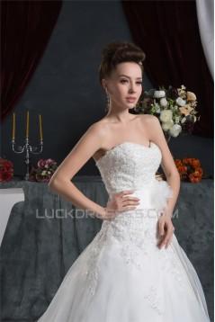 A-Line Sweetheart Sleeveless Satin Satin Organza Lace Wedding Dresses 2030612