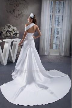 Beautiful A-Line Sleeveless Satin Taffeta Straps Wedding Dresses 2030616