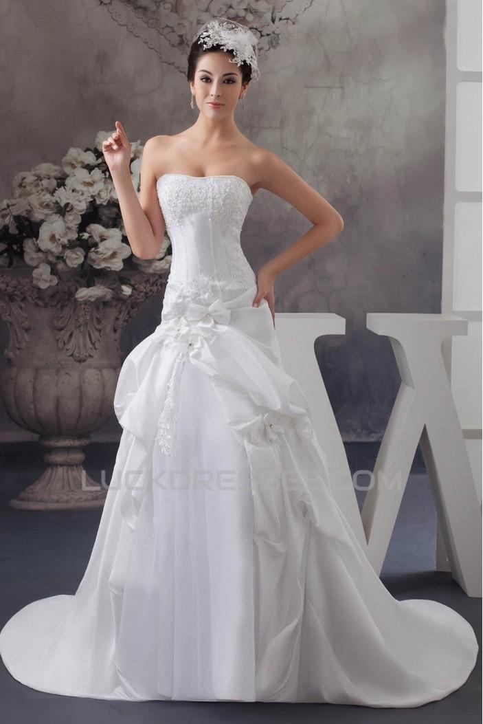 Beautiful A-Line Sleeveless Strapless Satin Taffeta Wedding Dresses 2030617