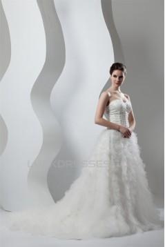 Beautiful A-Line Sweetheart Sleeveless Satin Organza Wedding Dresses 2030619