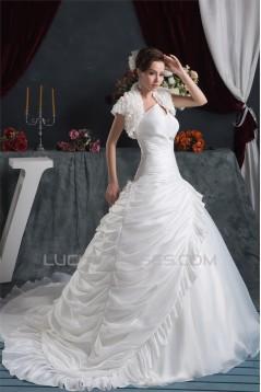 Beautiful A-Line V-Neck Satin Taffeta Short Sleeve Wedding Dresses 2030622