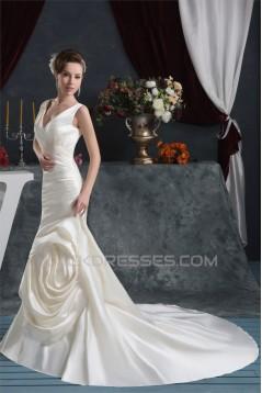 Beautiful Mermaid/Trumpet Straps Satin Wedding Dresses 2030624