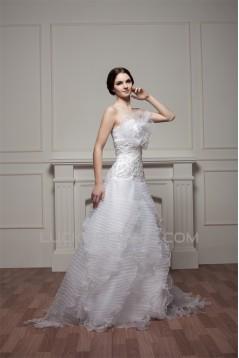 Beautiful Satin Spaghetti Straps Sleeveless A-Line Wedding Dresses 2030625