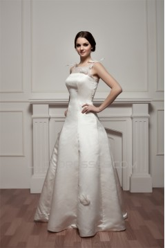 Beautiful Sleeveless Portrait Satin Fine Netting A-Line Wedding Dresses 2030630