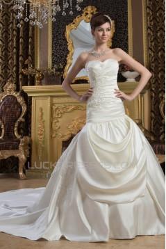 Beautiful Sleeveless Satin Sweetheart A-Line Wedding Dresses 2030632