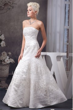 Beautiful Sleeveless Strapless A-Line Satin Wedding Dresses 2030633