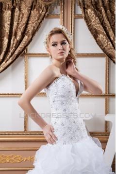 Beautiful Sweetheart Satin Organza A-Line Sleeveless Wedding Dresses 2030635