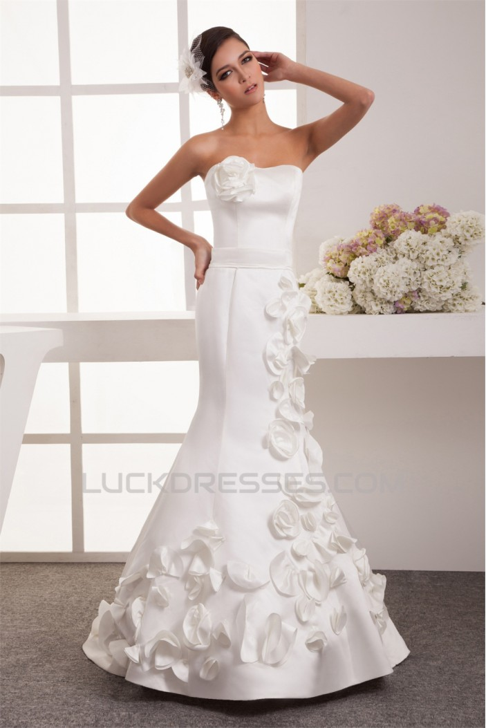 Beautiful Sweetheart Sleeveless Satin Mermaid/Trumpet Wedding Dresses 2030636