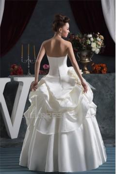 Bowl Ball Gown Sleeveless Satin Taffeta Reception Wedding Dresses 2030640