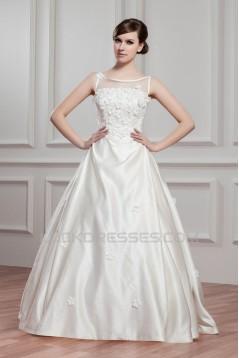 Breathtaking Ball Gown Satin Fine Netting Sheer Sleeveless Wedding Dresses 2030642