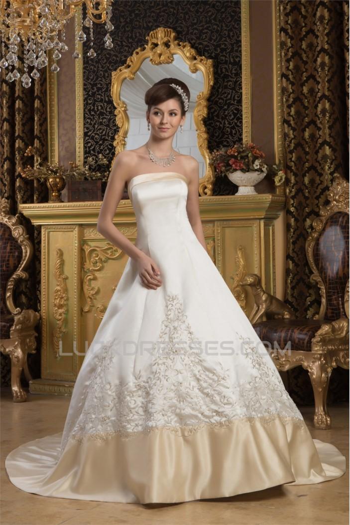 Breathtaking Strapless Satin Sleeveless A-Line Wedding Dresses 2030645